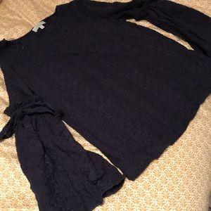 Lacey navy tie sleeve top